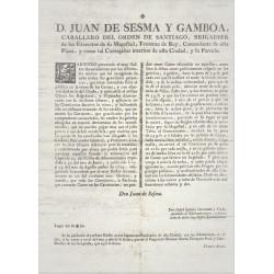 JUAN DE SESMA AND GAMBOA. COMMANDER AND CORREGIDOR OF BARCELONA 1782. MEATS