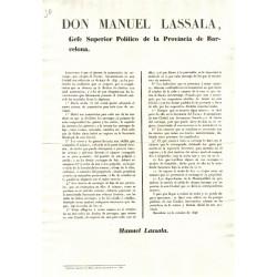 MANUEL LASSALA. GEFE SUPERIOR POLITICO. BARCELONA 1846. CARRUAGES