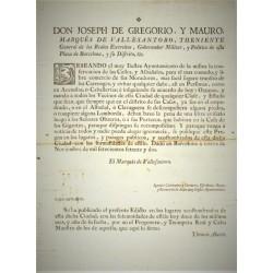 JOSEPH DE GREGORIO. MARQUES DE VALLESANTORO.BARCELONA 1772. PLANIFICATION URBAINE