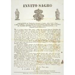 INVITO SAGRO. CARD. PATRIZI. ROMA 1848