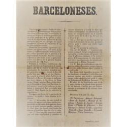 BARCELONESES. 1843. LLAMAMIENTO DE LA JUNTA REVOLUCIONARIA CONTRA EL GENERAL ESPARTERO.