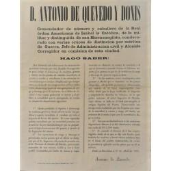 ANTONIO DE QUEVEDO. ALCALDE. BARCELONA 1865. PUERTO