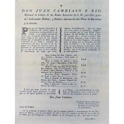 JUAN CAMBIASO. MARECHAL. BARCELONE 1794. TRANSPORT DE CARBONE