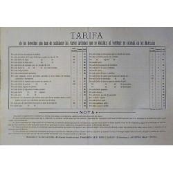 TARIF ... ARTICLES ... ENTRÉE SUR LES MARCHÉS.BARCELONE 1889