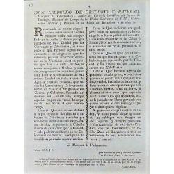 LEOPOLDO DE GREGORIO GOUVERNEUR BARCELONE 1799. VOITURES ET CAVALERIES