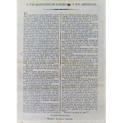 AUX HABITANTS DE BARCELONE ET DE SES ARRABALES. 1824. PASEO DE GRACIA