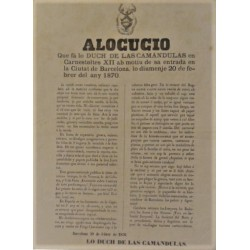 ALOCUCIO...DUCH DE LAS CAMANDULAS EN CARNESTOLTES. BARCELONA 1870. CARNAVAL