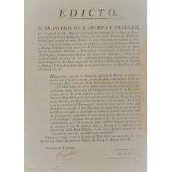 EDICTO. FRANCISCO DE LABORDA DEL CONSEJO DE S.M. MAZARRON1816.ALFARERIA