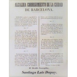 ALCALDIA DE LA CIUDAD DE BARCELONA. 1852. TEATRO