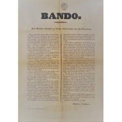 BANDO. MELCHOR ORDOÑEZ. GOVERNOR. BARCELONA 1853. CARRIAGES
