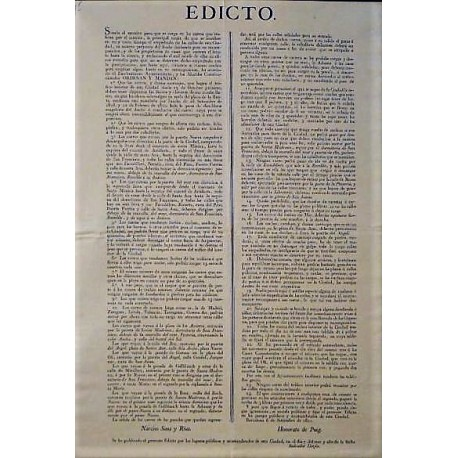 EDICT.NARCISO SANS.MAYOR.BARCELONA 1820.CARRUAJES AND COBBLEDS STREETS