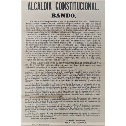 MAIRE CONSTITUTIONNEL. BANDO. BARCELONE 1876. VOITURES