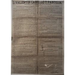 VALENTIN CABELLO. ALCALDE. BARCELONA 1864, CARRUAJES-TARIFAS