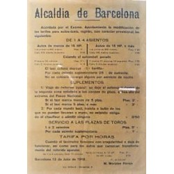 ALCALDIA DE BARCELONA. 1918. TARIFAS AUTO-TAXIS