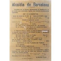 MAIRIE DE BARCELONE. 1918. TARIFS AUTO-TAXI