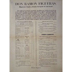RAMON FIGUERAS. MAIRE. BARCELONE 1857. TARIFS DES VOITURES