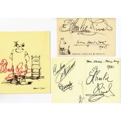 CHARLIE RIVEL. ENSEMBLE DE 8 AUTOGRAPHES DE DIFFÉRENTS TEMPS. 1968-1981
