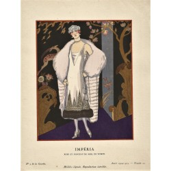 IMPERIA. ROBE ET MANTEAU DU SOIR DE WORTH. GEORGES BARBIER. GAZETTE DU BON TON