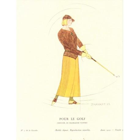 POUR LE GOLF. COSTUME DE DE MADELEINE VIONNET. THAYAHT. LA GAZETTE DU BON TON