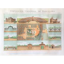 EXPOSICION UNIVERSAL DE BARCELONA 1888. PLANO GENERAL ...PRINCIPALES CONSTRUCCIONES