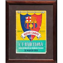 PROGRAMA OFICIAL NUEVO CAMPO F.C. BARCELOAN. 1954. PRIMERA PIEDRA