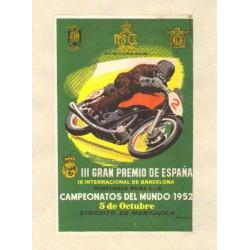 III GRAN PREMIO DE ESPAÑA y IX INTERNACIONAL DE BARCELONA. 1952. GRANELL. REAL MOTOCLUB CATALUÑA
