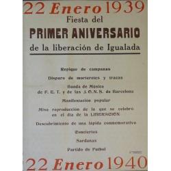 IGUALADA 22 ENERO 1939 PRIMER ANIVERSARIO